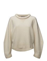BOILED WOOL CREWNECK L/SSWEATER - IVORY