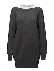 BI-LAYER KNIT DRESS W/ INNER TANK - CHARCOAL WITH WHITE COMBO