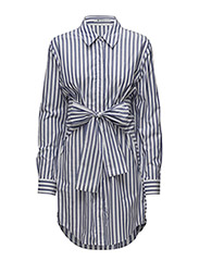 L/S TIE FRONT COLLARED DRESS - WHITE WITH BLUE STRIPE