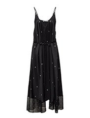 SLVLS VNK MIXED MEDIA TRAPEZE DRESS - BLACK WITH BONE PRINT
