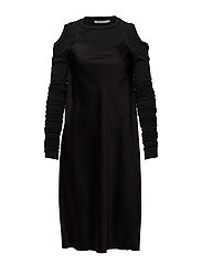 T By Alexander Wang - Woven Dress With Wrap Jersey Combo