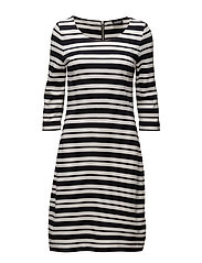 DRESS KNITTED FABRIC - NAVY STRIPED