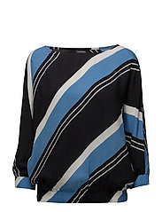 BLOUSE 3/4-SLEEVE - NAVY STRIPED