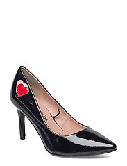 Woms Court Shoe - BLK PAT./HEART