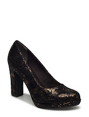 Woms Court Shoe - BLACK STR.COMB