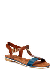 Woms Sandals - NAVY/COGNAC