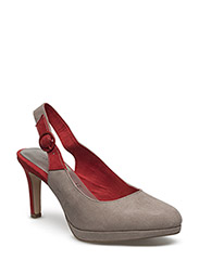 Woms Sling Back - TAUPE/RED