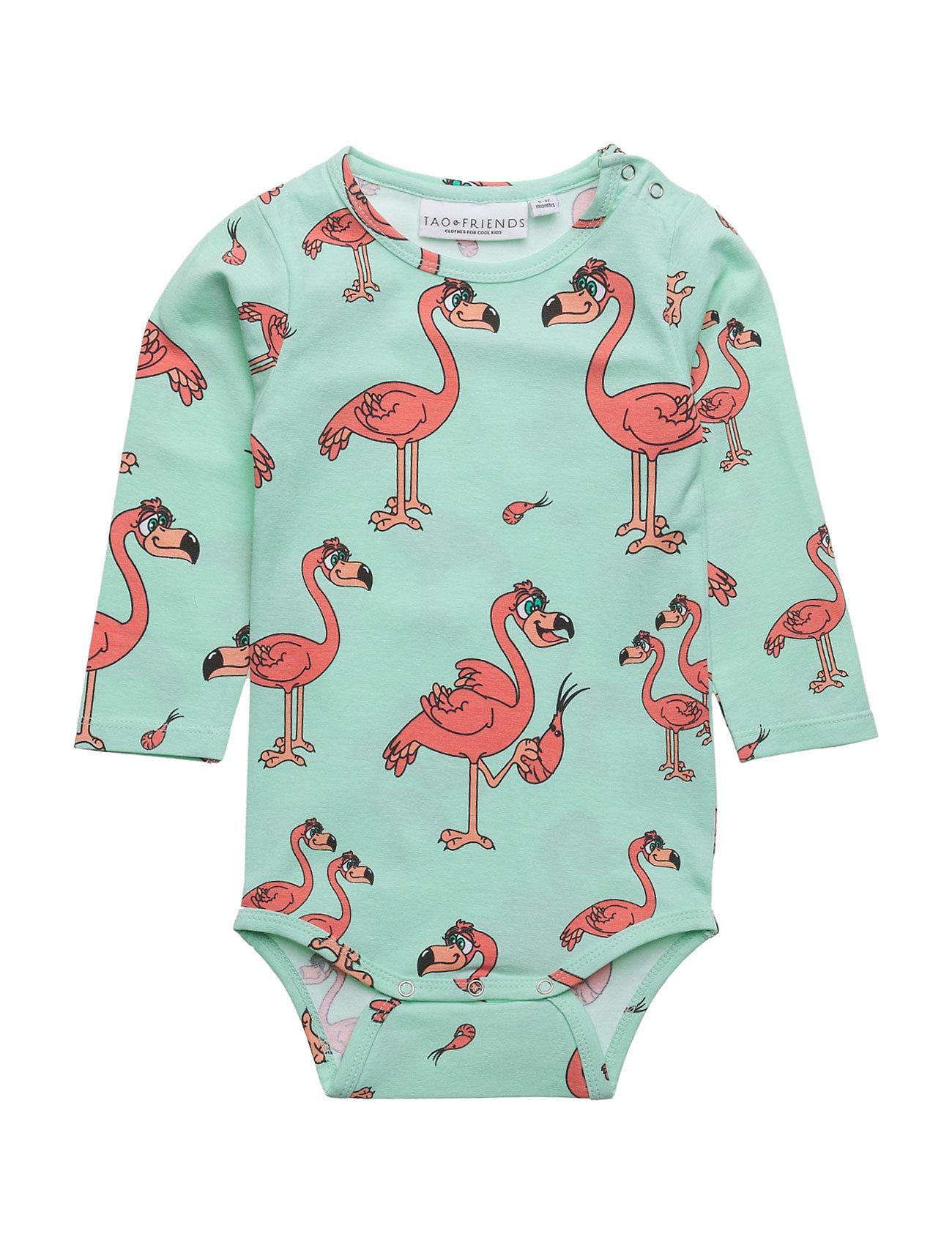 Baby Body Flamingon Multi-Animal Mint Tao & friends Langærmede bodies til Børn i Mint Green
