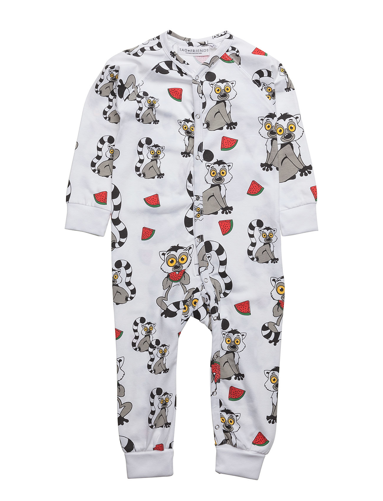 Pj Lemuren Multi-Animal White One-Piece Tao & friends Pyjamas til Børn i hvid