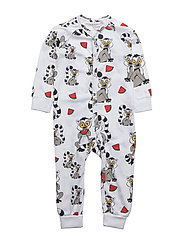 PJ Lemuren multi-animal white one-piece - WHITE