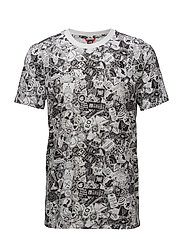 M SS SIMPLE DOME TEE - TNF WT STCKR BOM PT