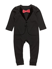 The Velvet Tuxedo Black Red Bow - ALL BLACK
