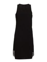 WOVEN SLEEVELESS DRESS - BLACK