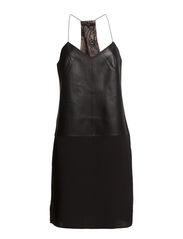 LEATHER SLIP DRESS - BLACK