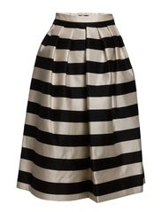 WOVEN FULL SKIRT - BLACK/CREAM MULTI