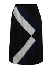 WOVEN PLEATED SKIRT - BLACK MULTI