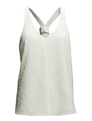 WOVEN VNECK TIE BACK TOP - IVORY
