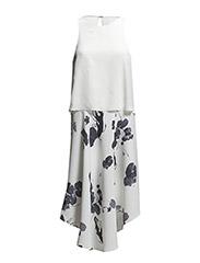 WOVEN LAYERED SLVL DRESS - WHITE MULTI
