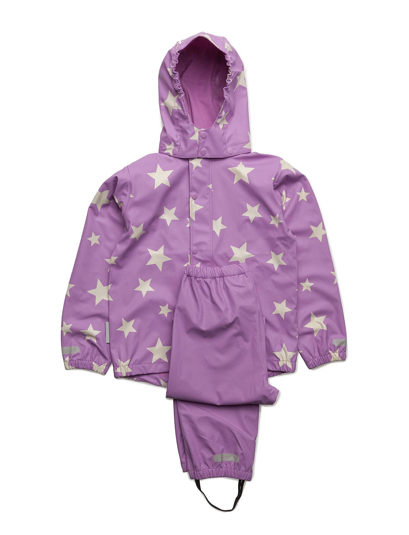 Rain Set 2pcs Rubber With Detachable Hood Allover Ticket to Heaven Regntøj til Børn i