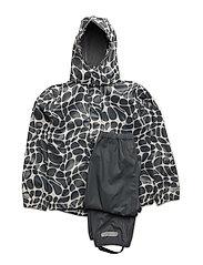 Rain set 2pcs Rubber with detachable hood allover - CASTLEROCK / GRAY