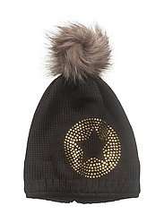 Bobble Knit Hat - CAVIAR