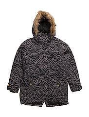 Mary jacket with detachable hood allover - JET BLACK