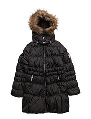 Marilyn down jacket with detachable hood - JET BLACK