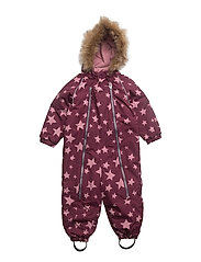 Baggie snowsuit with detachable hood allover - AMARANTH