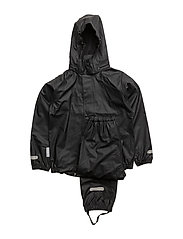 Rain set 2pcs Authentic rubber with detachable hood - JET BLACK