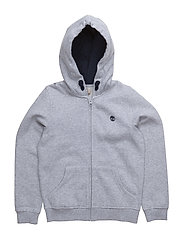 HOODED CARDIGAN - CHINE GREY