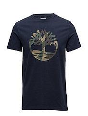 SS Kennebec River Seasonal Pattern Brand Slim Tee (Tree & Li - DK SAPHIRE T