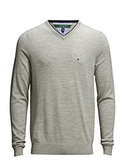 Preston V-neck Sweater - heather grey