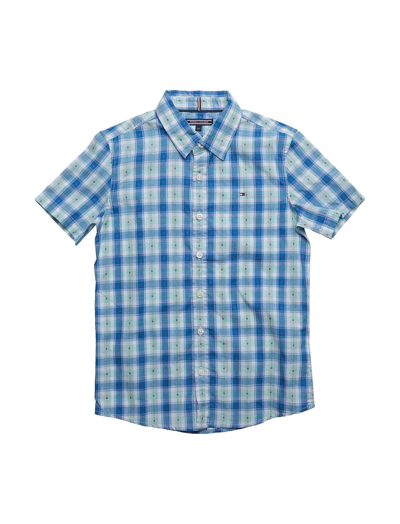 Multi Colored Dobby Shirt S/S Tommy Hilfiger  til Børn i hvid