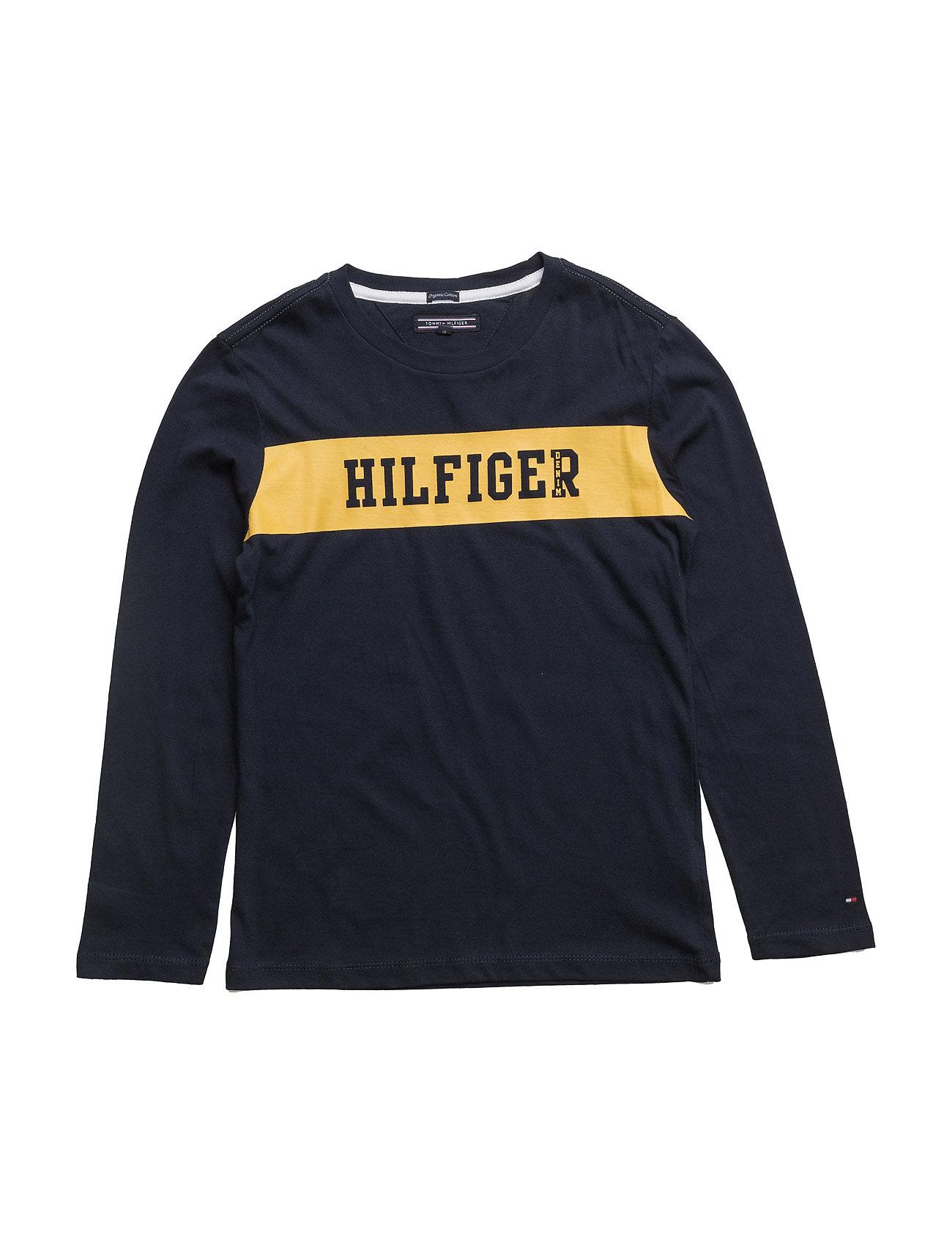Ame Big Logo Cn Tee L/S Tommy Hilfiger Langærmede t-shirts til Børn i Blå