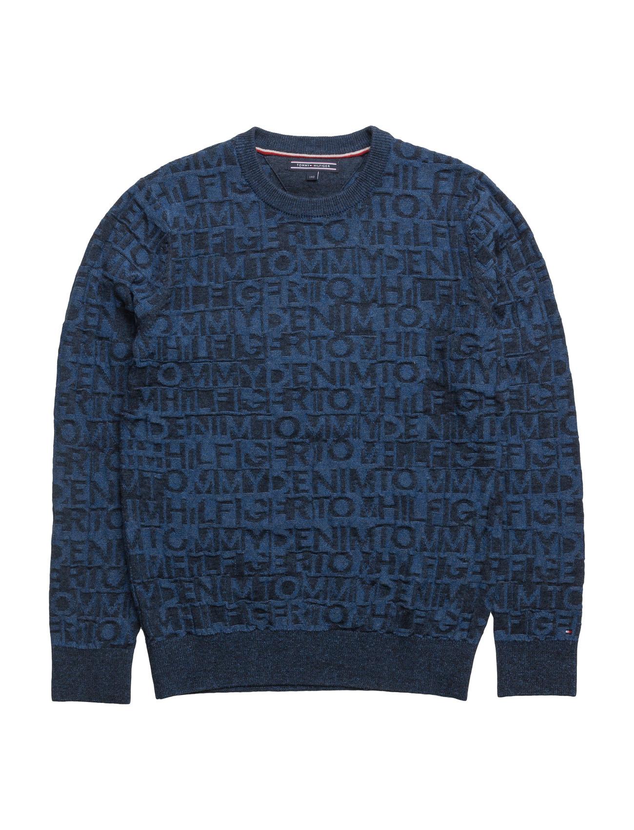 D Jacquard Cn Sweater L/S Tommy Hilfiger  til Børn i Blå