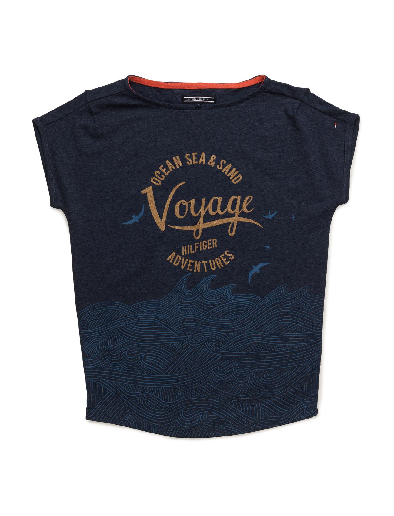 Girls Voyage Bn Knit S/S Tommy Hilfiger Kortærmede t-shirts til Børn i Blå