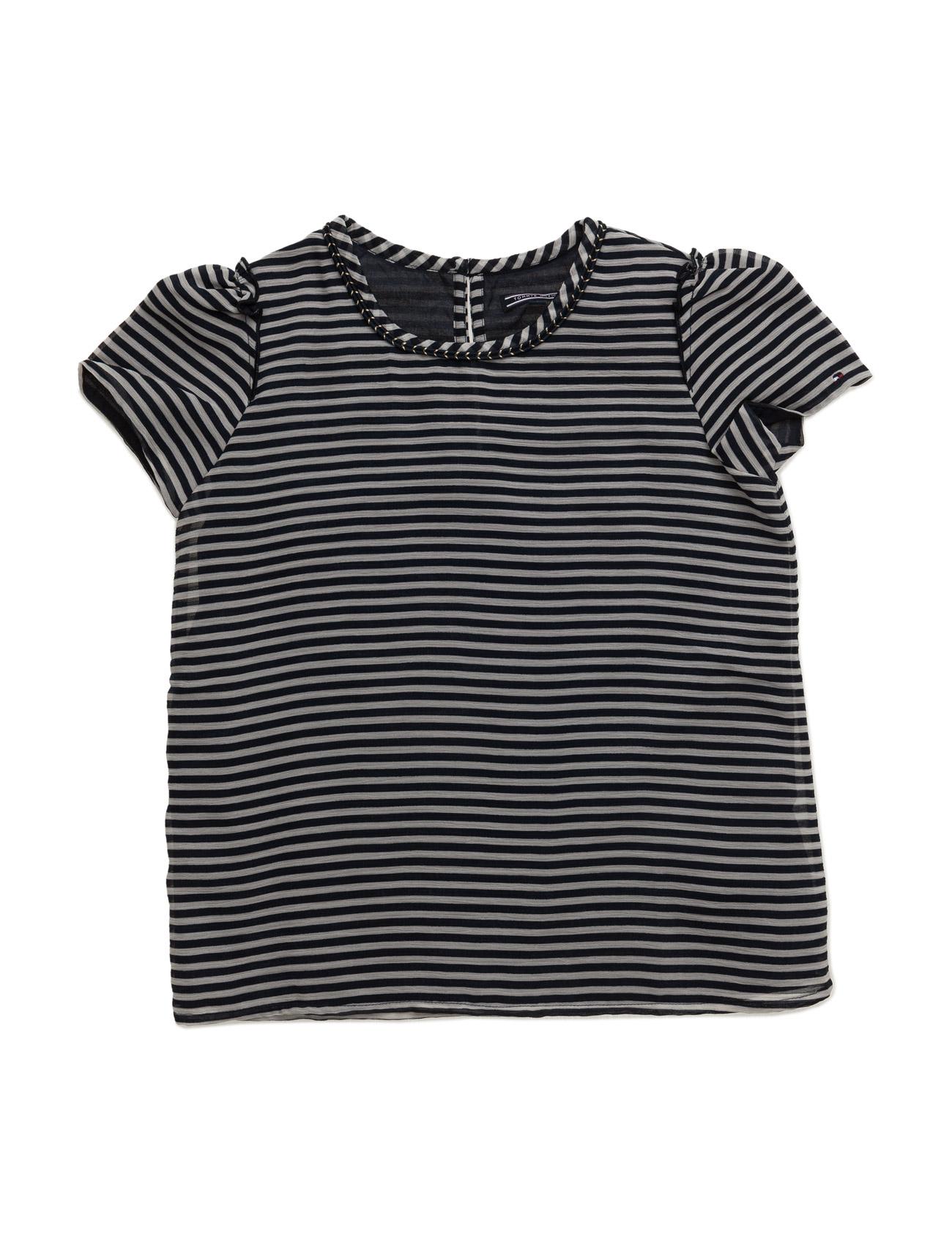 Stripe Chiffon Top S/S Tommy Hilfiger Kortærmede t-shirts til Børn i