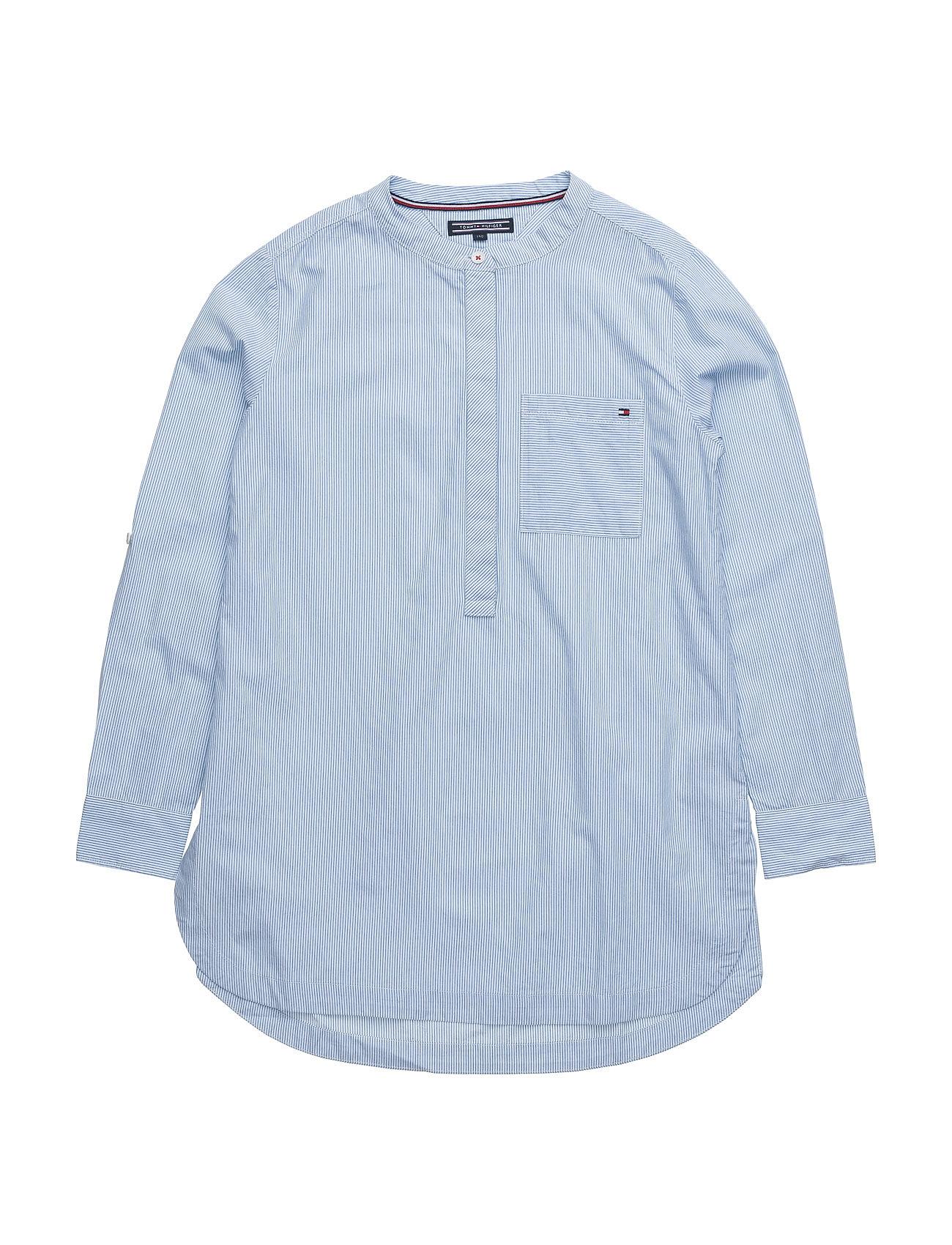 Girls Mini Stripe Shirt L/S Tommy Hilfiger Trøjer til Piger i Blå