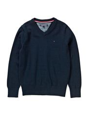 TOMMY VN SWEATER L/S - MIDNIGHT