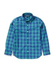 COLDWATER GINGHAM SHIRT L/S - GREEN-BLUE SLATE