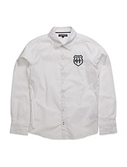 SOLID POPLIN BADGE SLIMFIT SHIRT L/ - WHITE