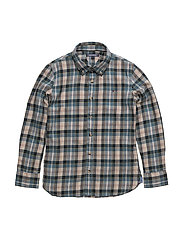 BRUSHED TWILL CHECK SHIRT L/S - WHITE