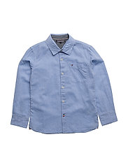 AME COTTON LINEN CHAMBRAY SHIRT L/S - BLUE