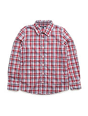 BRICK CHECK SHIRT L/S - WHITE