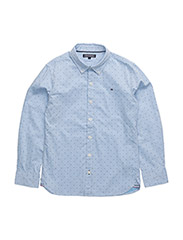 ALLOVER H PRINTED SHIRT L/S - BLUE