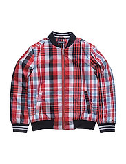 THKB CHECK BOMBER JACKET - RED