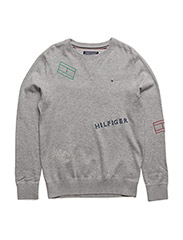 AME FLAG EMBROIDERY CN SWEATER L/S - GREY