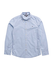 AME MINI PATTERN Y/D CHK SHIRT L/S - BLUE