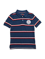 AME PREPPY STRIPE POLO S/S - BLUE