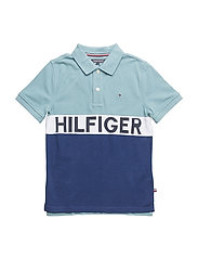 STRIPE BLOCK POLO S/ - CAMEO BLUE